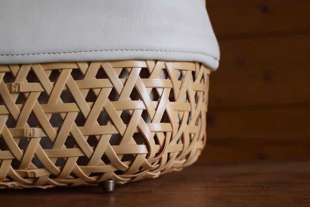 Crafty竹細工牛革カゴバッグ