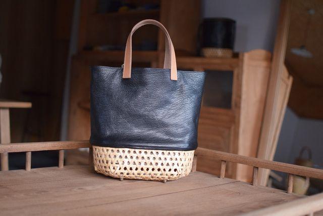 Crafty竹細工ヤギ革カゴバッグ